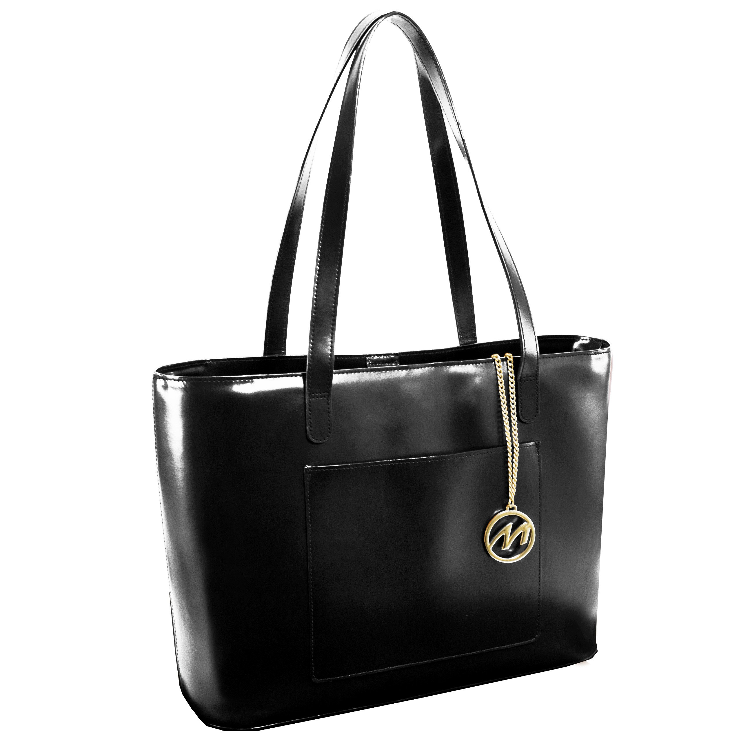 McKleinUSA Alyson [Personalized Initials Embossing] Leather Ladies' Tote with Tablet Pocket in Black by McKlein