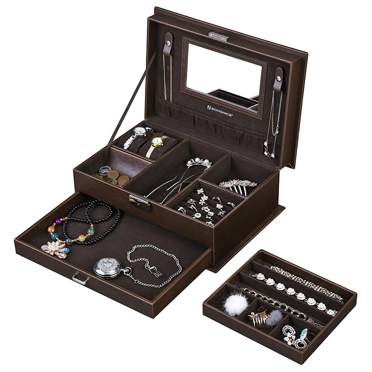 SONGMICS Watch Organizer Jewelry & Accessories Holder Display Case for Men & Women, Faux Leather, Brown UJBC221BR