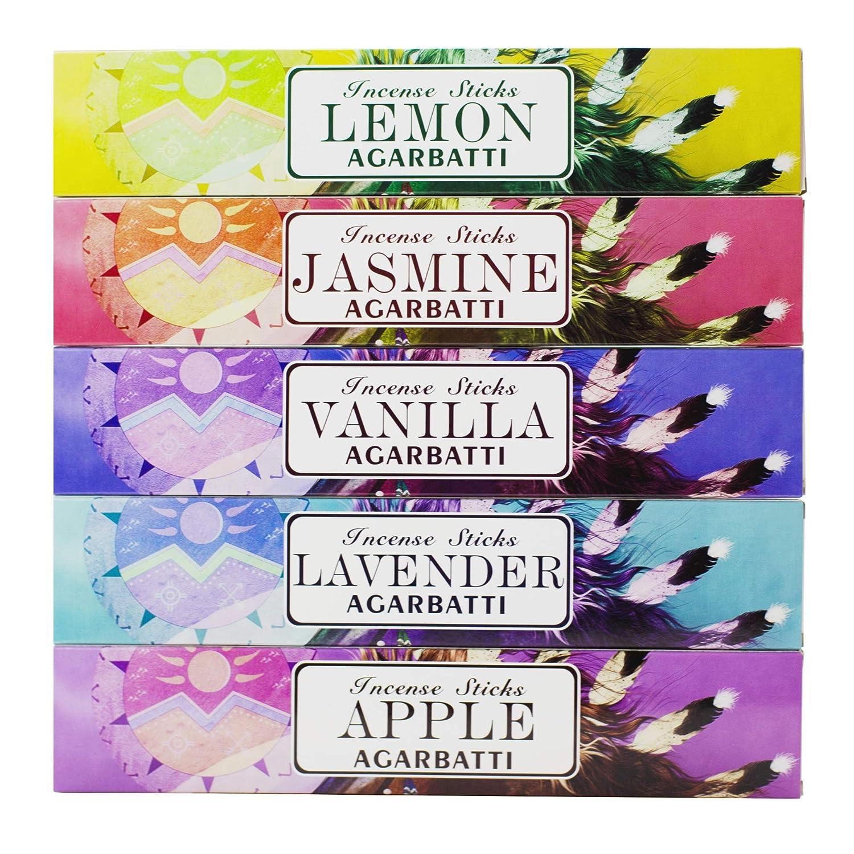 Mosfantal Premium Hand Dipped Incense Sticks - Lemon, Jasmine, Lavender, Vanilla, Apple, Variety Gift Pack (240Gram)