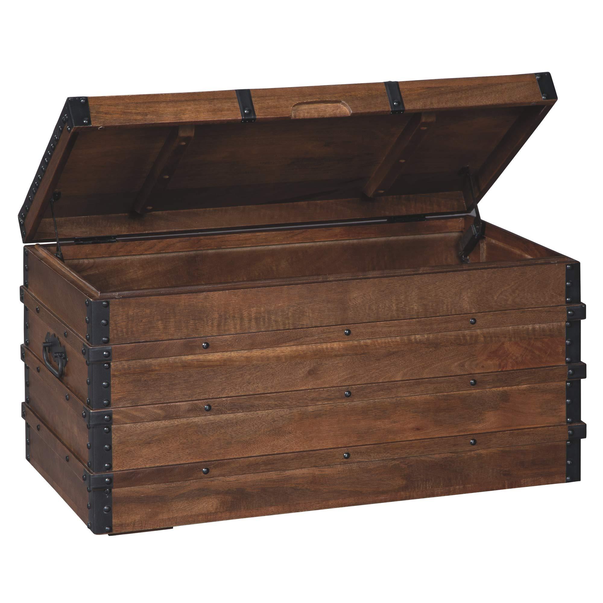 Ashley Furniture Signature Design - Kettleby Storage Trunk - Brown by Ashley Furniture Signature Design
