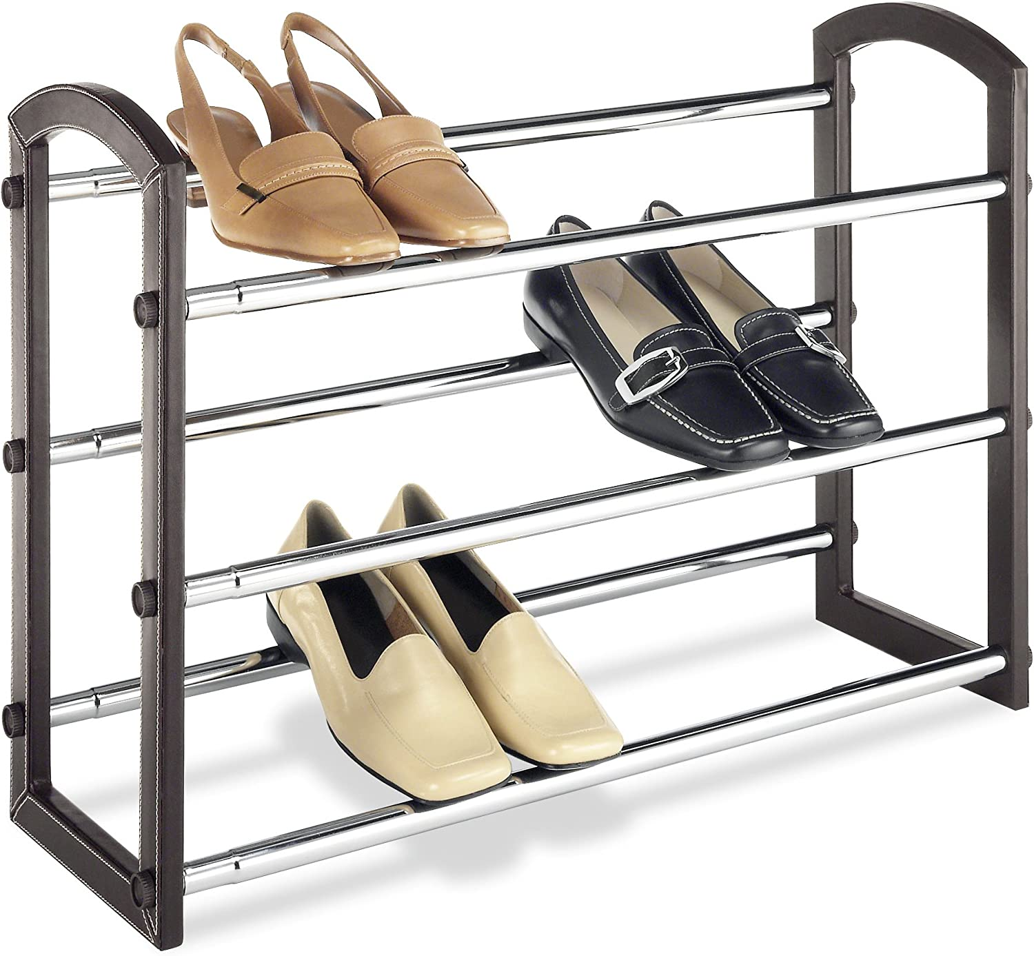 Black Seat//Black Frame GIA Cushioned Shoe Rack with Faux Leather