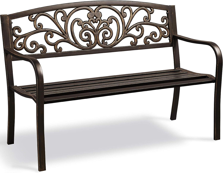 YAHEETECH Patio Garden Bench for Outdoor, Patio Porch Outdoor Furniture Clearance Iron Metal Frame Chair for Park, Deck, Entryway, Backyard, Elegant Bronze Finish