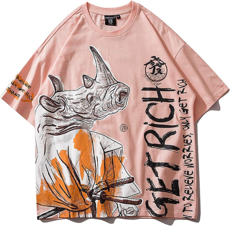 DREAMING-Sudadera De Verano De Manga Corta con Camiseta De Algodón De Cuello Redondo Estampada Suelta para Hombres Y Mujeres Camisas De Parejas