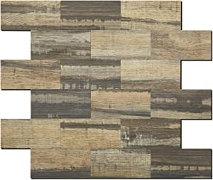 DICOFUN Subway Tile Peel and Stick Backsplash, PVC Mix Rustic Wood Panels for Kitchen Wall Decor, Pack of 5
