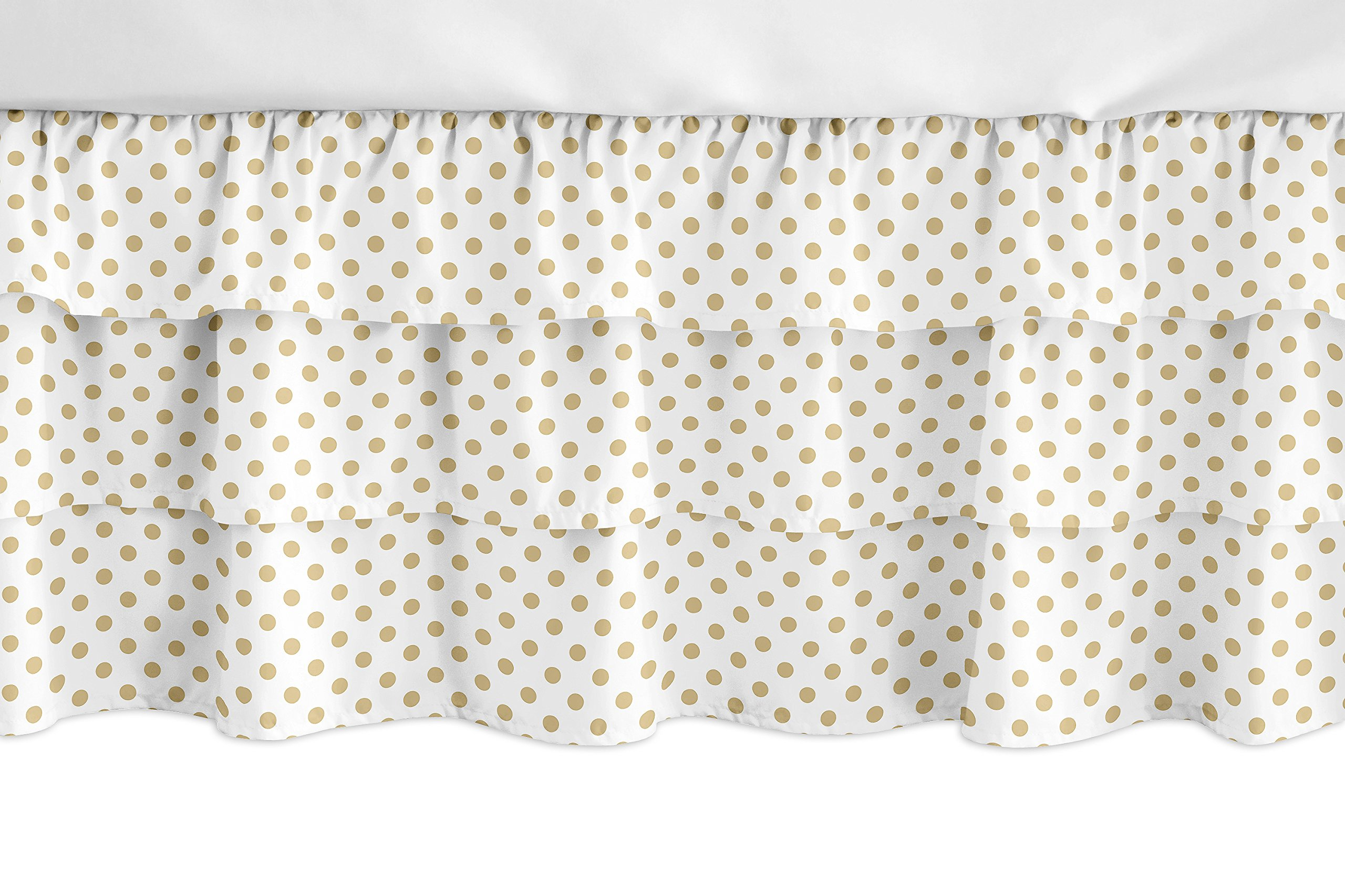 Sweet Jojo Designs Gold and White Polka Dot Girl Ruffled Tiered Baby Crib Bed Skirt Dust Ruffle for Watercolor Floral Collection by Sweet Jojo Designs
