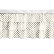 Sweet Jojo Designs Gold and White Polka Dot Girl Ruffled Tiered Baby Crib Bed Skirt Dust Ruffle for Watercolor Floral Collection