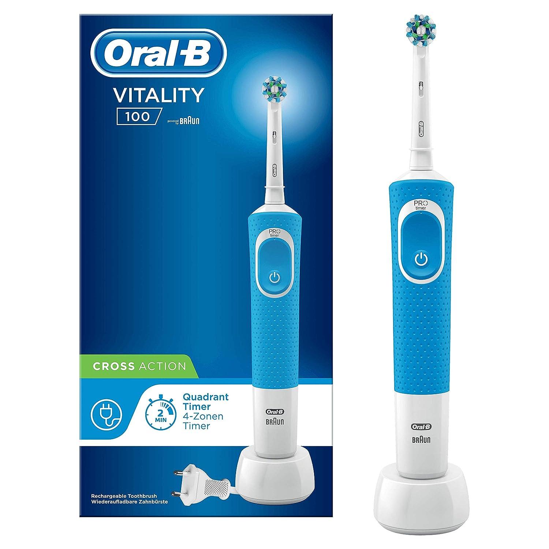 Oral-B Vitality 100 Cepillo Eléctrico Recargable con Tecnología de Braun, 1 Mango Azul, 1 Cabezal de Recambio CrossAction
