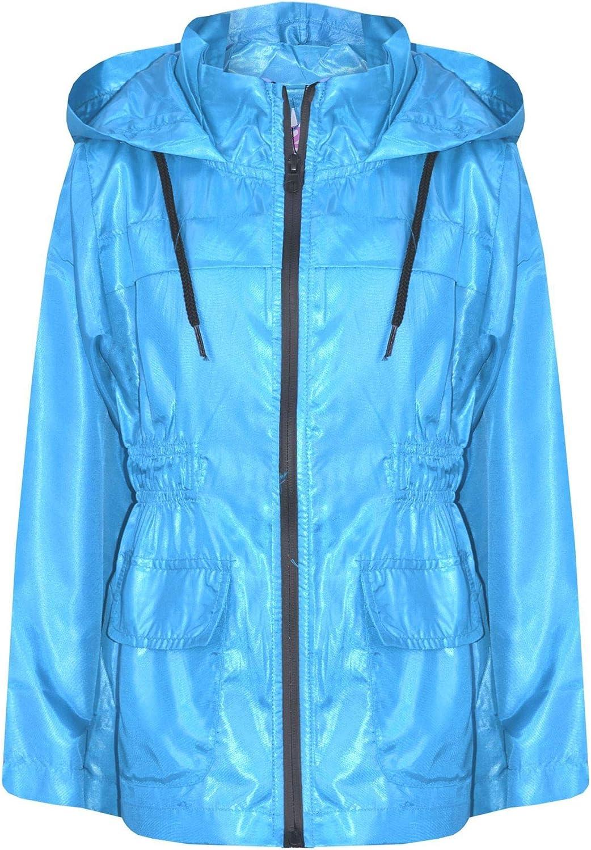 A2Z 4 Kids/® Girls Boys Raincoats Jackets Kids Silver Light Weight Waterproof Kagool Hooded Jacket Cagoule Rain Mac Thin Coats New Age 5 6 7 8 9 10 11 12 13 Years