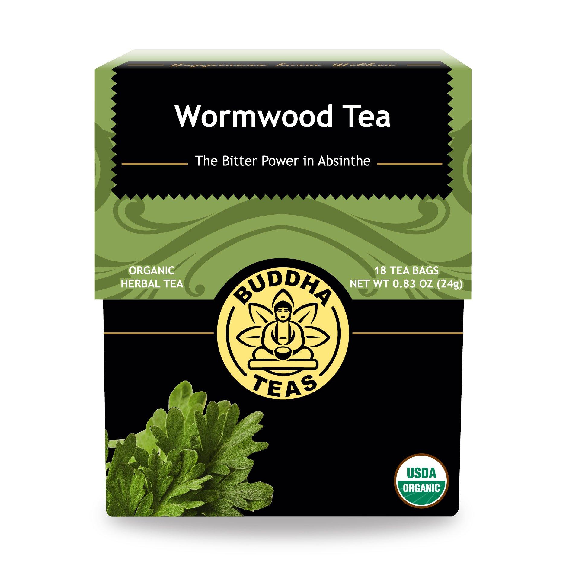 Organic Wormwood Tea, 18 Bleach-Free Tea Bags – Natural Source of Antioxidants, Vitamins C and B Complex, No GMOs