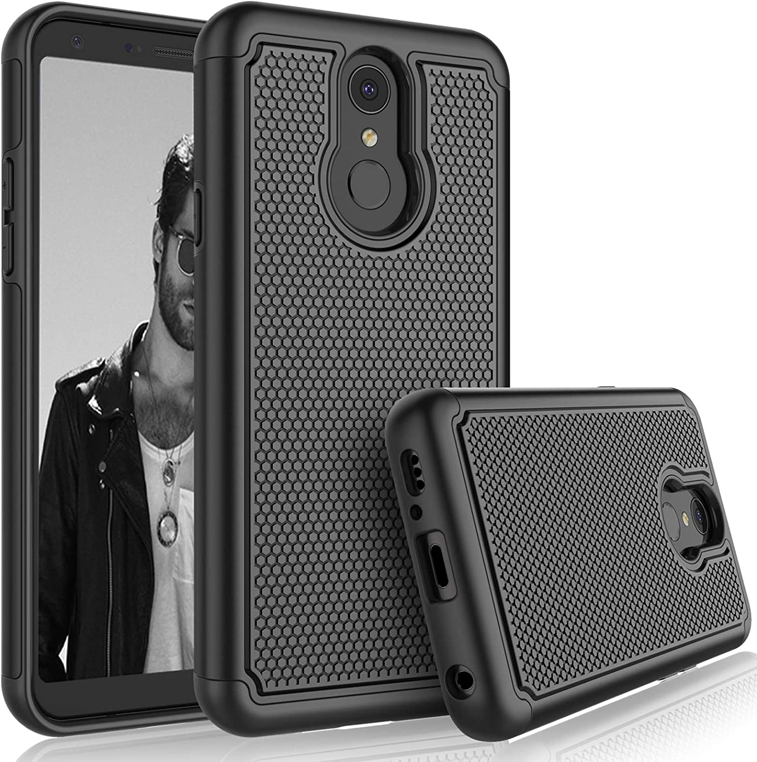 LG Q7 Case, LG Q7 Plus/LG Q7+ Sturdy Case, [Tmajor] Shock Absorbing [Black] Rubber Silicone & Plastic Scratch Resistant Rugged Bumper Cute Grip Solid Hard Phone Cases Cover