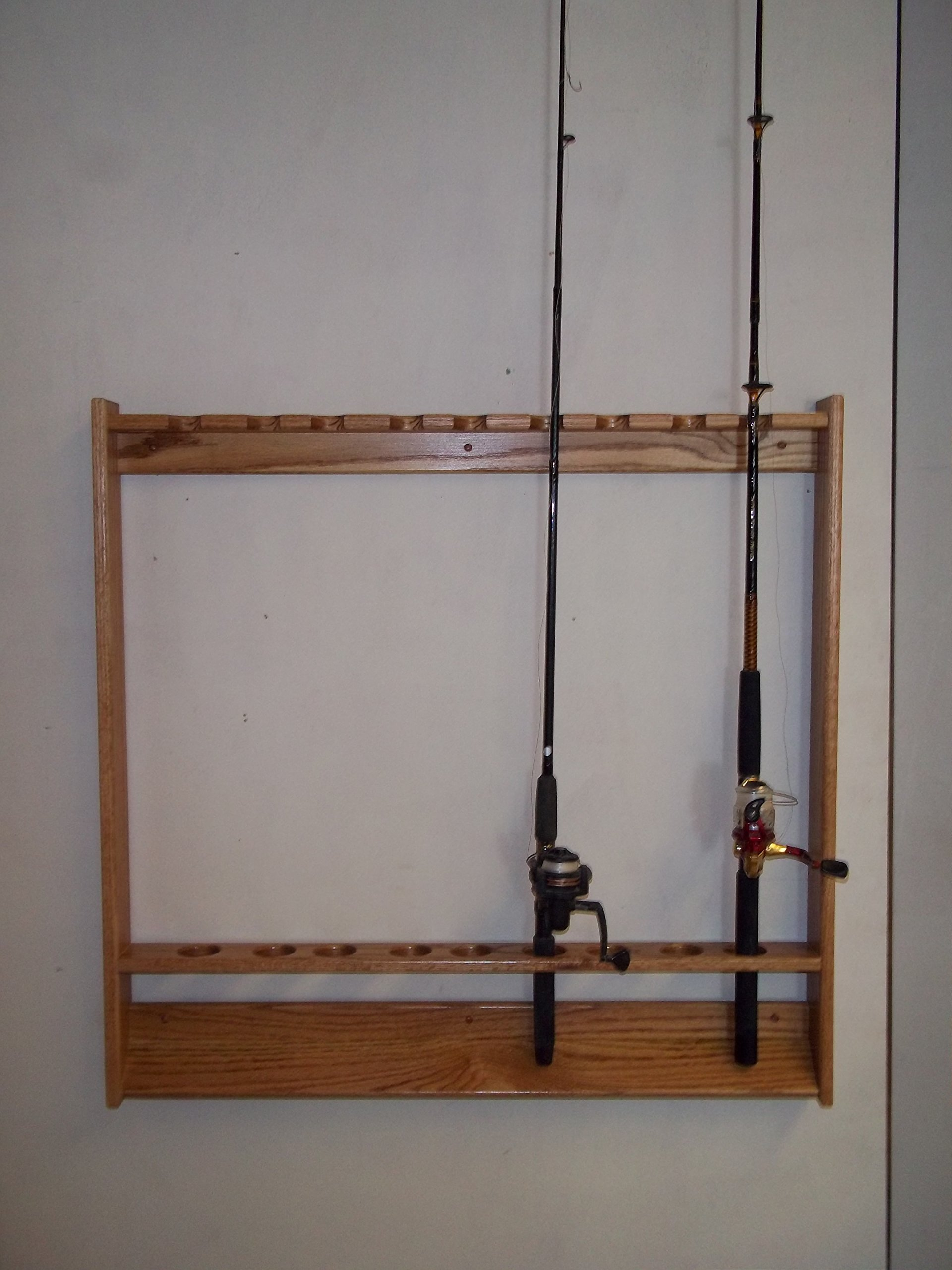 Wallmount Fishing Pole and Rod Rack ~ Golden Oak Finish by Handmade