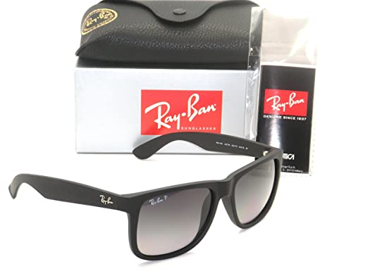 Authentic Ray Ban Justin Rb 4165 622 T3 55mm Rubber Black Grey Gradient Polarized