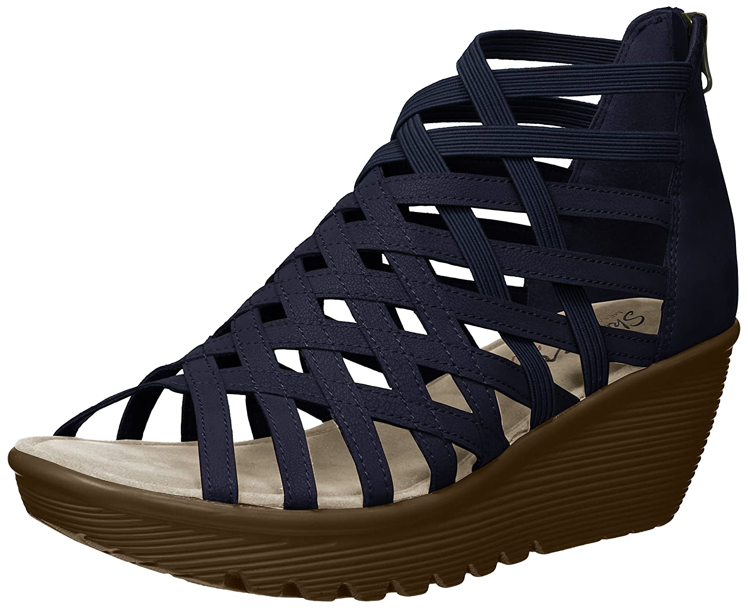 Navy Skechers Womens Parallel-Dream Queen - Caged Open Toe Sandal Wedge Sandal