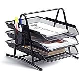 Premium Black Document Tray with Pen Holder | Stackable Desk Organizer Trays | Letter Organizer | Desk Paper Organizer | Paper Rack