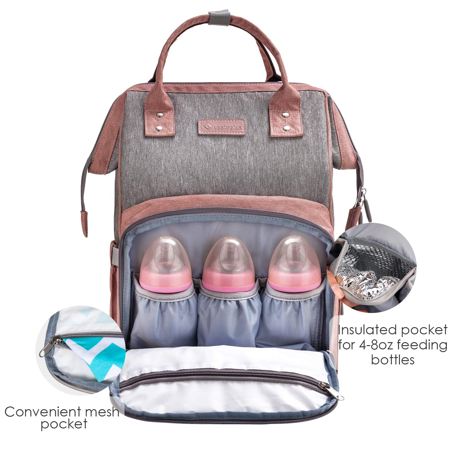 Diaper Bag Backpack Nappy Bag Upsimples Baby Bags for Mom Maternity Diaper Bag with USB Charging Port Stroller Straps Thermal Pockets Wide Shoulder Straps Water Resistant  Pink by upsimples (Image #3)