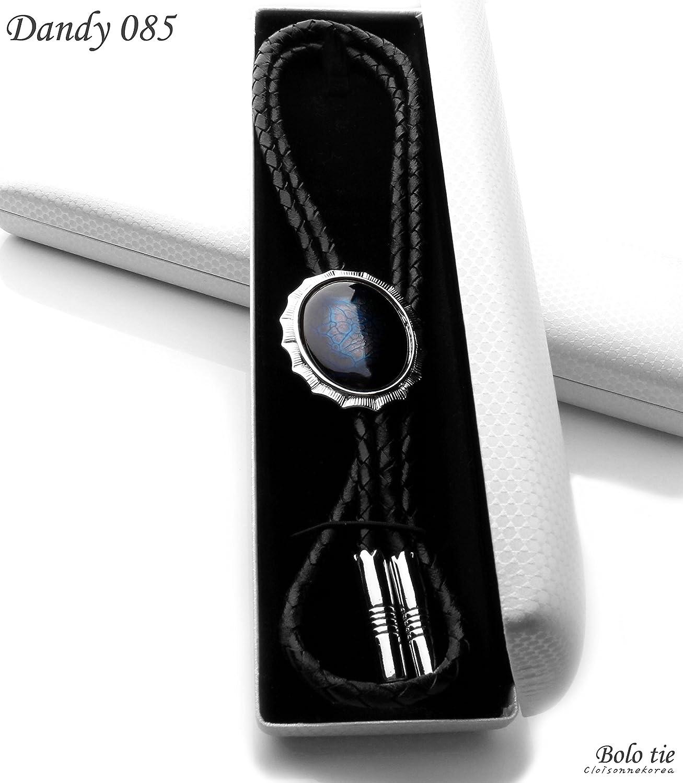 Bolo Tie Cloisonne Genuine Leather Dandy 085 Collection Blue Leopard
