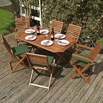Rowlinson 7 Piece Hardwood Eucalyptus Wood Garden Furniture Set 6