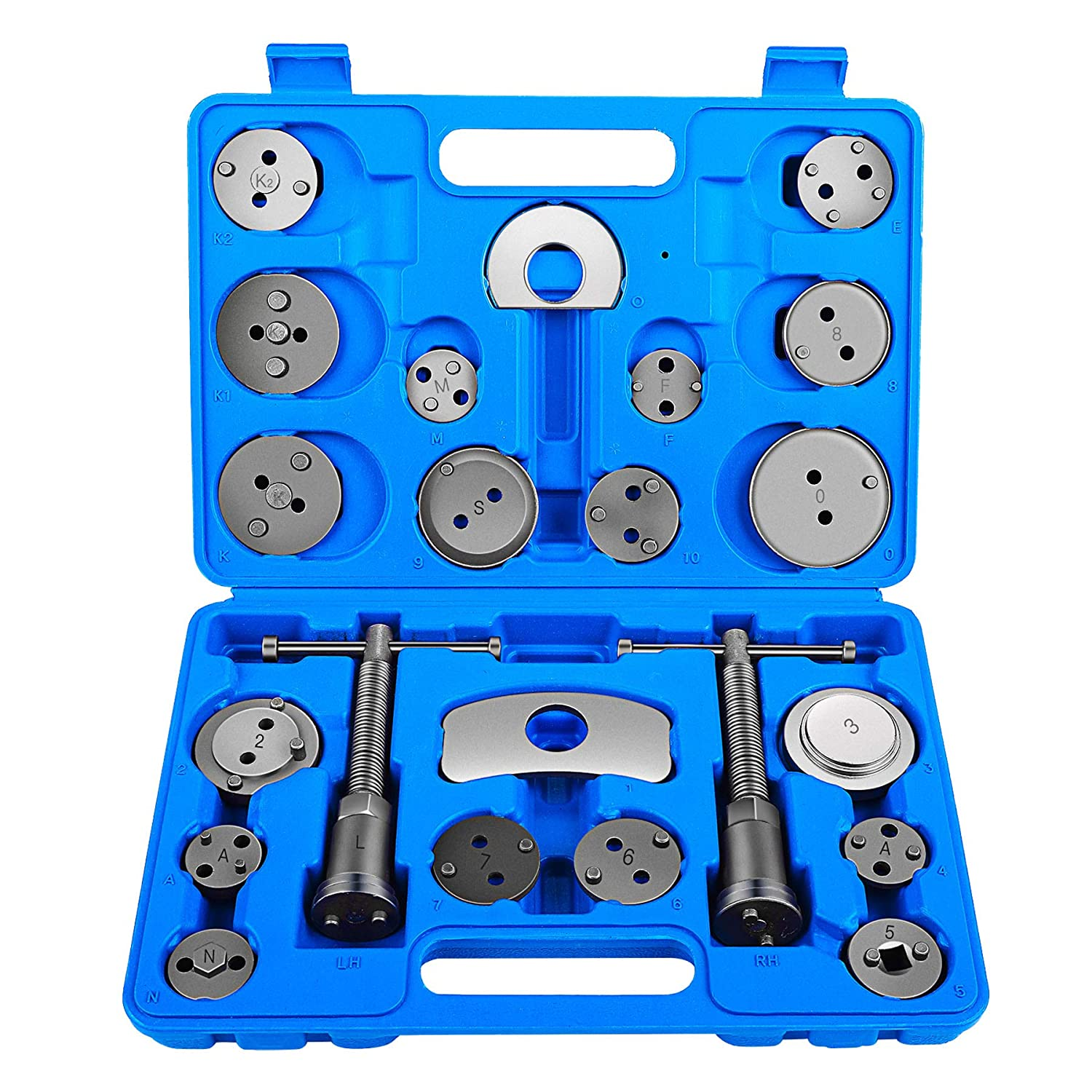 Orion Motor Tech 22pcs Heavy Duty Disc Brake Piston Caliper Compressor Tool Set and Wind Back Kit for Brake Pad Replacement, Fits Most American, European, Japanese Models