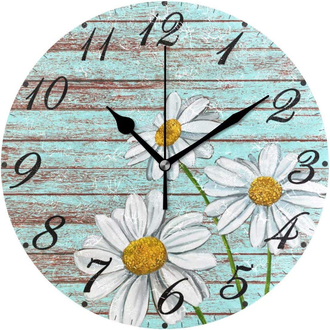 Pfrewn Wooden Sunflower Daisy Wall Clock Silent Non Ticking Retro Bird Floral Clocks Battery Operated Watercolor Vintage Desk Clock 10 Inch Quartz Analog Quiet Bedroom Living Room Home Decor