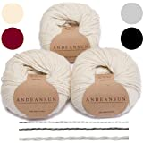 (Ivory) - AndeanSun -100% Baby Alpaca Yarn Skeins - Set of 3 - Ivory - Luxuriously soft for knitting, crocheting - Great for baby garments, scarves, hats, and craft projects - Assorted Natural and Vibrant Colours - Satisfaction Guaranteed