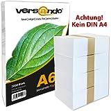 Versando - Lot de 2000 feuilles DIN A6 (105 x 148 mm) papier universel pour imprimer et photocopier , blanc , 80g/m²