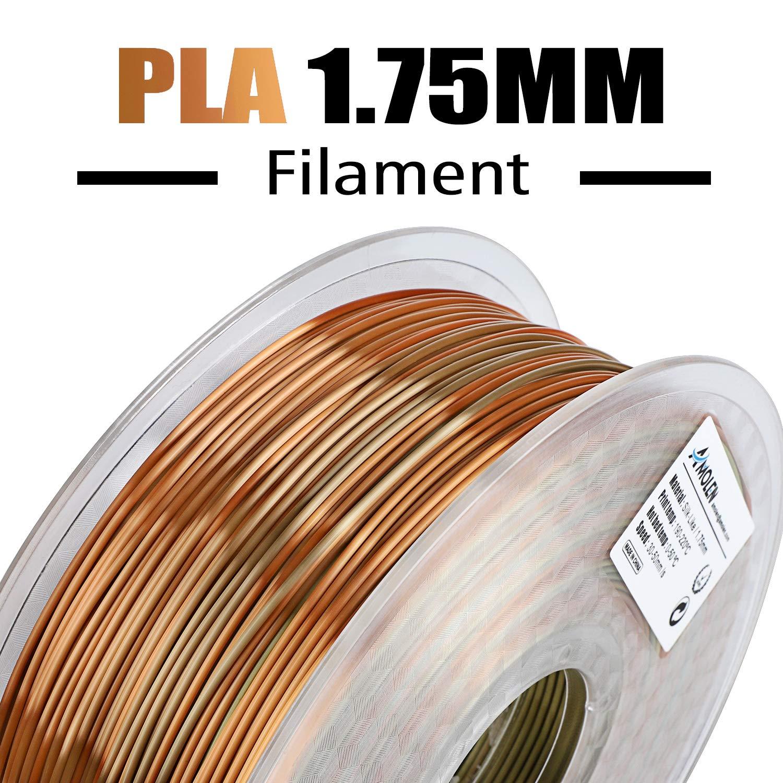 incluye Glow in the Dark Verde Muestra Filamento. AMOLEN PLA Filamento Impresora 3D 1.75mm Seda Metal Rainbow Multicolor 1KG,+// 0.03mm Materiales de impresi/ón 3D de filamento