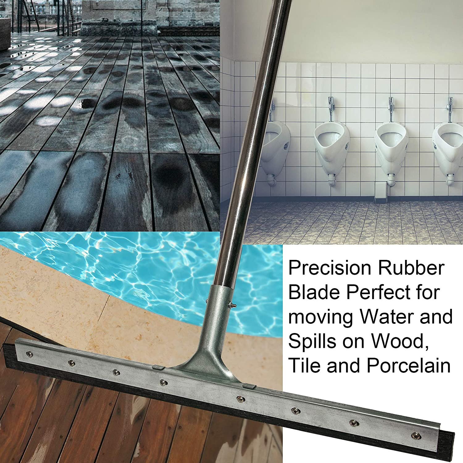 Garage Warehouse Perfect for Washing and Drying Tile Floor Squeegee Wood Marble Concrete 23.5 Rubber Heavy Duty