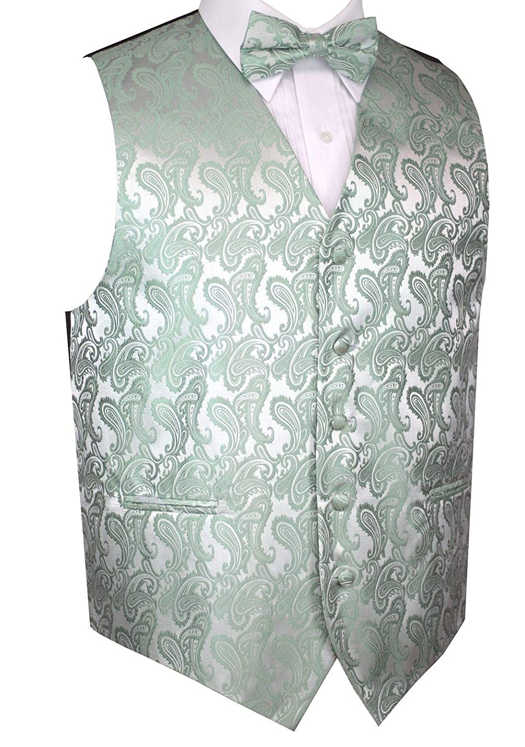 Mens Formal Tuxedo Vest /& Bow-Tie Set in Sage Paisley