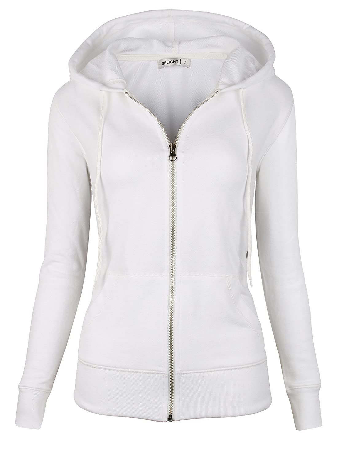 White DELight Women's French Terry Regular Fit Zip up Hoodie