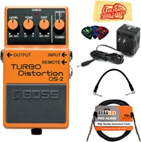 Boss DS-2 Turbo Distortion Bundle with Power Supply, Instrument Cable, Patch Cable, Picks, and Austin Bazaar Polishing Cloth