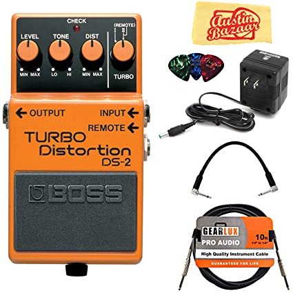 Amazon.com: Boss DS-2 Turbo Distortion Bundle with Power Supply, Instrument Cable, Patch Cable, Picks, and Austin Bazaar Polishing Cloth: Musical ...