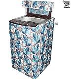 E-Retailer Classic Blue Leaves Design Top Load Washing Machine Cover (Suitable For 6 kg, 6.5 kg, 7 kg, 7.5 kg)