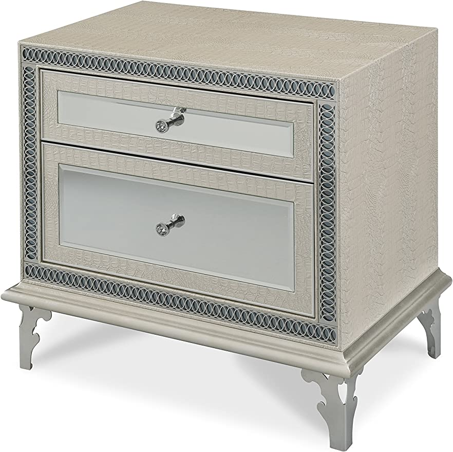 Hollywood Swank Queen Graphite 4 Piece Bedroom Set By Aico Amini Furniture Decor Amazon Com