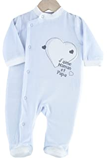 752225253a0ff Kinousses Grenouillère Pyjama pour Bébé en Velours pour Garçon Motif J aime  Maman   Papa
