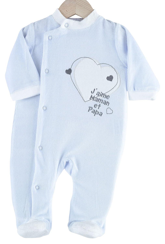 Kinousses Grenouillère Pyjama pour Bébé en Velours pour Garçon Motif J'aime Maman & Papa Blanc Bleu Ciel 1 Mois 810 2120