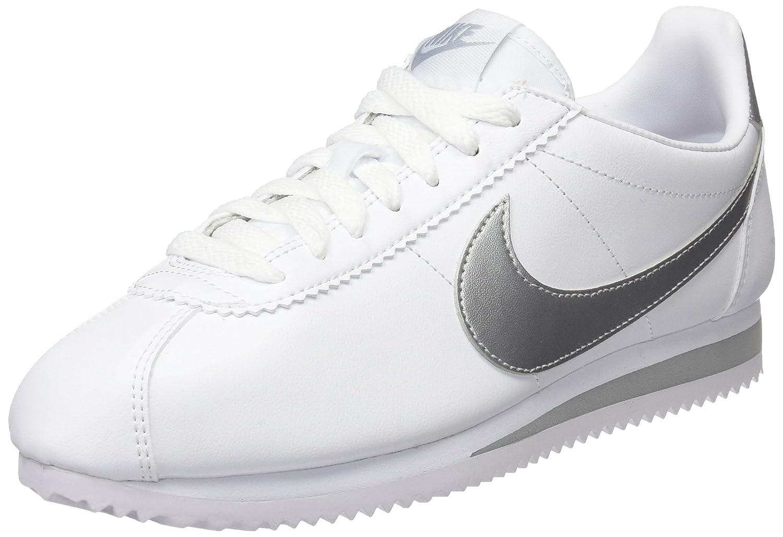 NIKE Women's Classic Cortez Leather Casual Shoe B07458V7BP 9 B(M) US|White/Metallic Silver