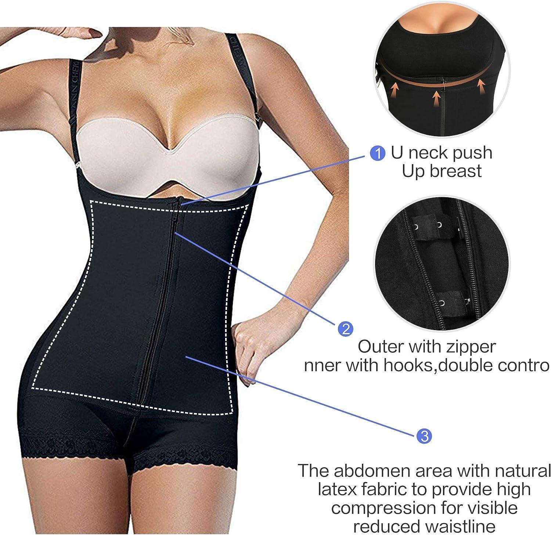 SHAPERX Womens Body Shaper Fajas Colombianas Open Bust Bodysuit Seamless Firm Control Shapewear