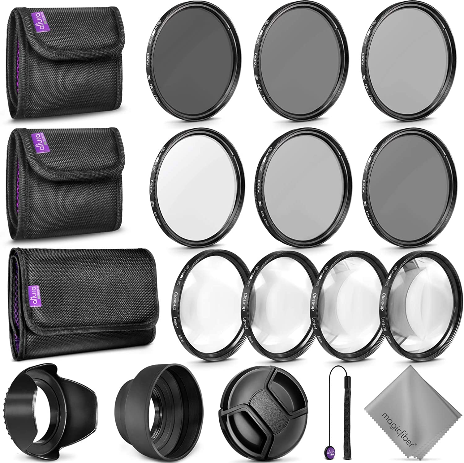 67MM Complete Lens Filter Accessory Kit for Camera Lenses: Includes Altura Photo UV CPL ND4 Filter Kit, Macro Close Up Kit and Neutral Density Filter Set
