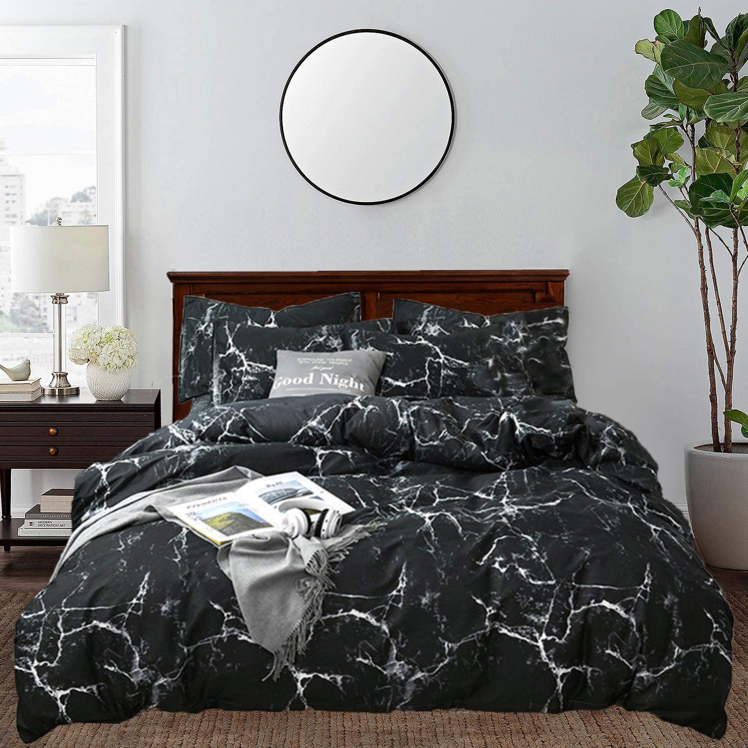 clothknow black marble comforter sets queen men boys bedding comforter full for adults teen quilt sets black white 3 pcs bedding comforter sets with 2