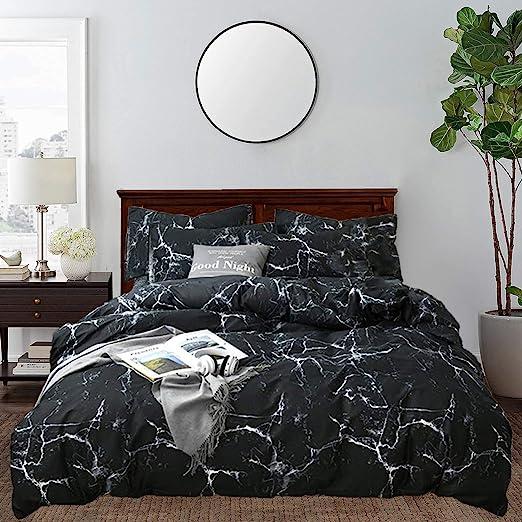 Amazon.com: CLOTHKNOW Black Marble Comforter Sets Queen Men Boys