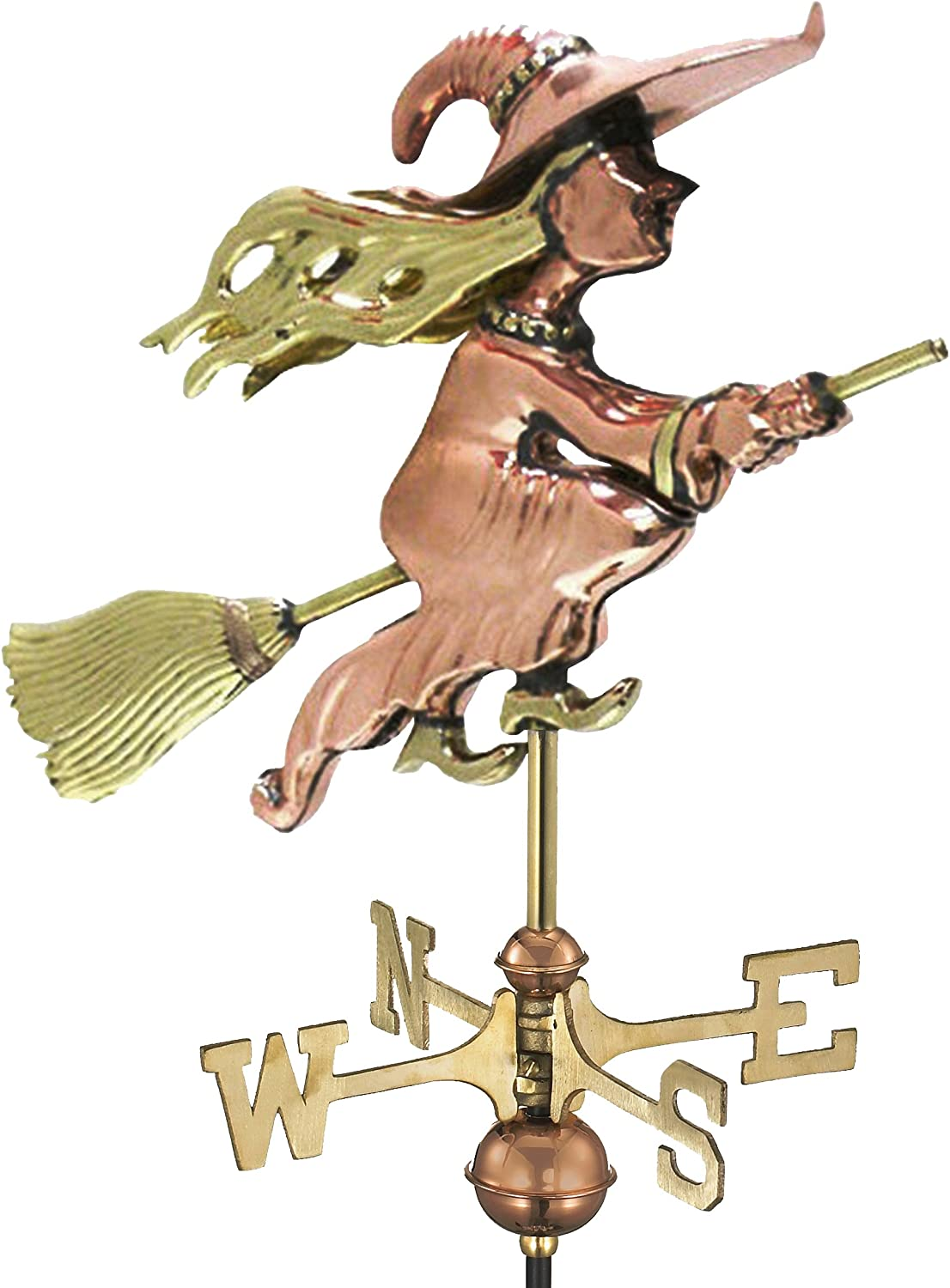 IKevan/_ Cast Iron Witch Weather Vanes Ornament for Roofs Roof Mount Steel Windblown Flying Wicked Witch Wind Direction Indicator Weathervane Decorations Gift for Outdoor Farm Yard Garden