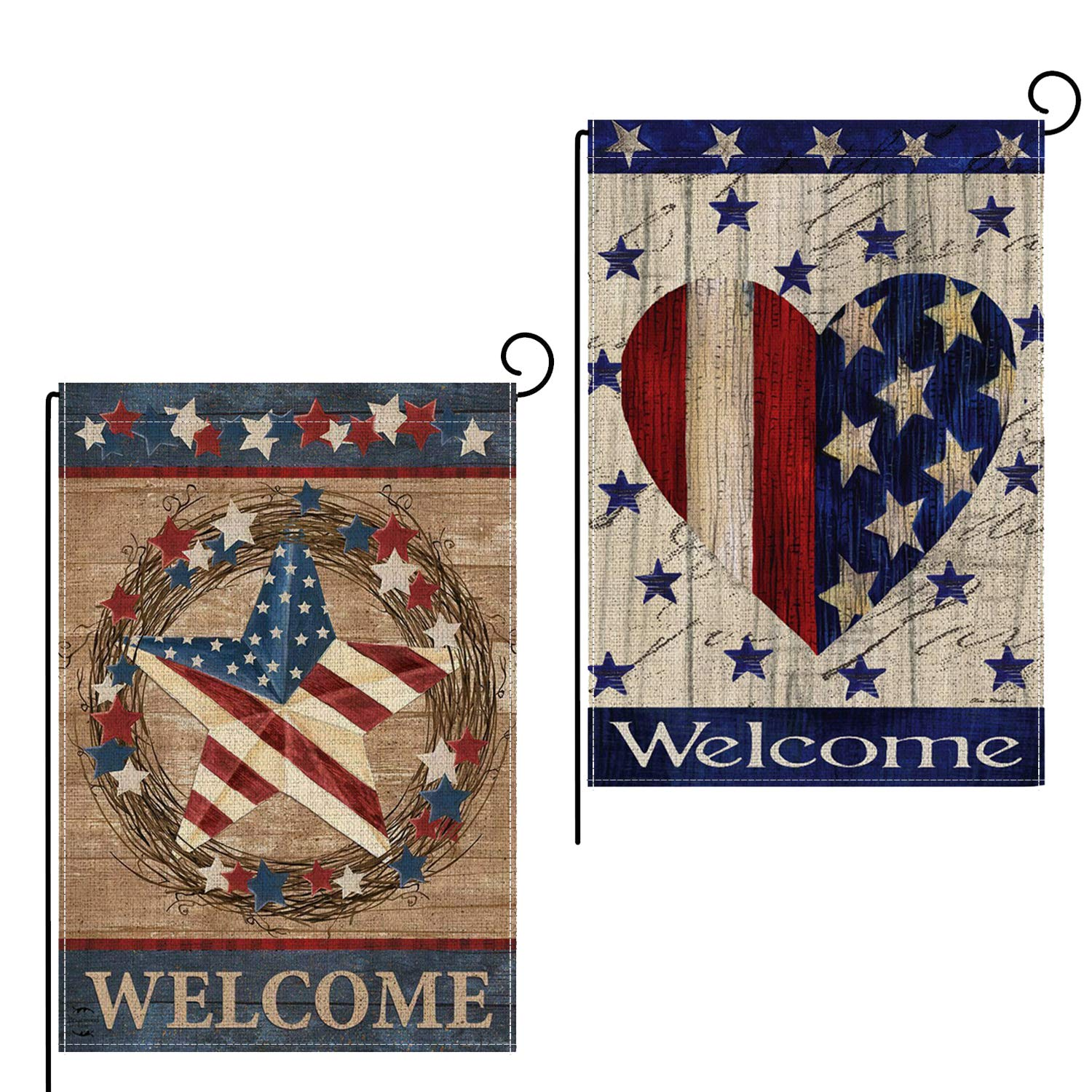 Rertcioph 2 Pack Home Decorative Garden Flags Double Sided, Burlap Welcome Quotes House Yard Decoration, America Patriotic Rustic Seasonal Outdoor Yard Flags 12.5 x 18 Inch