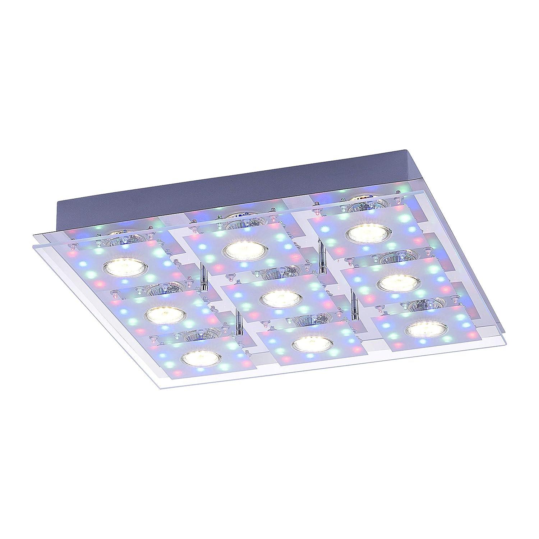LED Decken Leuchte RGB eckig 44 x 44 cm 9 x 3 W LED Spot + 108 x LED Farbwechsel Fernbedienung getrennt schaltbar Glasplatte Spiegel-Platte chrom bunt 2502 Lumen