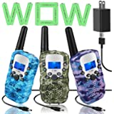 Topsung 3 Walkie Talkies for Kids Adults Rechargeable Walkie Talkie with Charger,Idea Kids Toys for 3 4 5 6 7 8 9 10 11 12 Ye