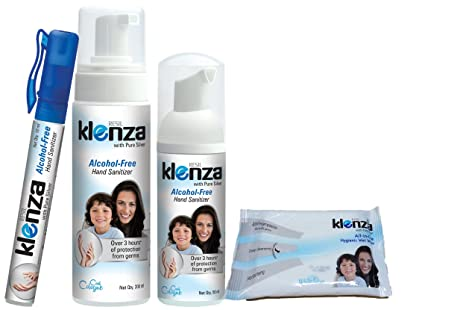 Buy Klenza Hand Sanitizer Family Pack With Wet Wipes Pack Of 10