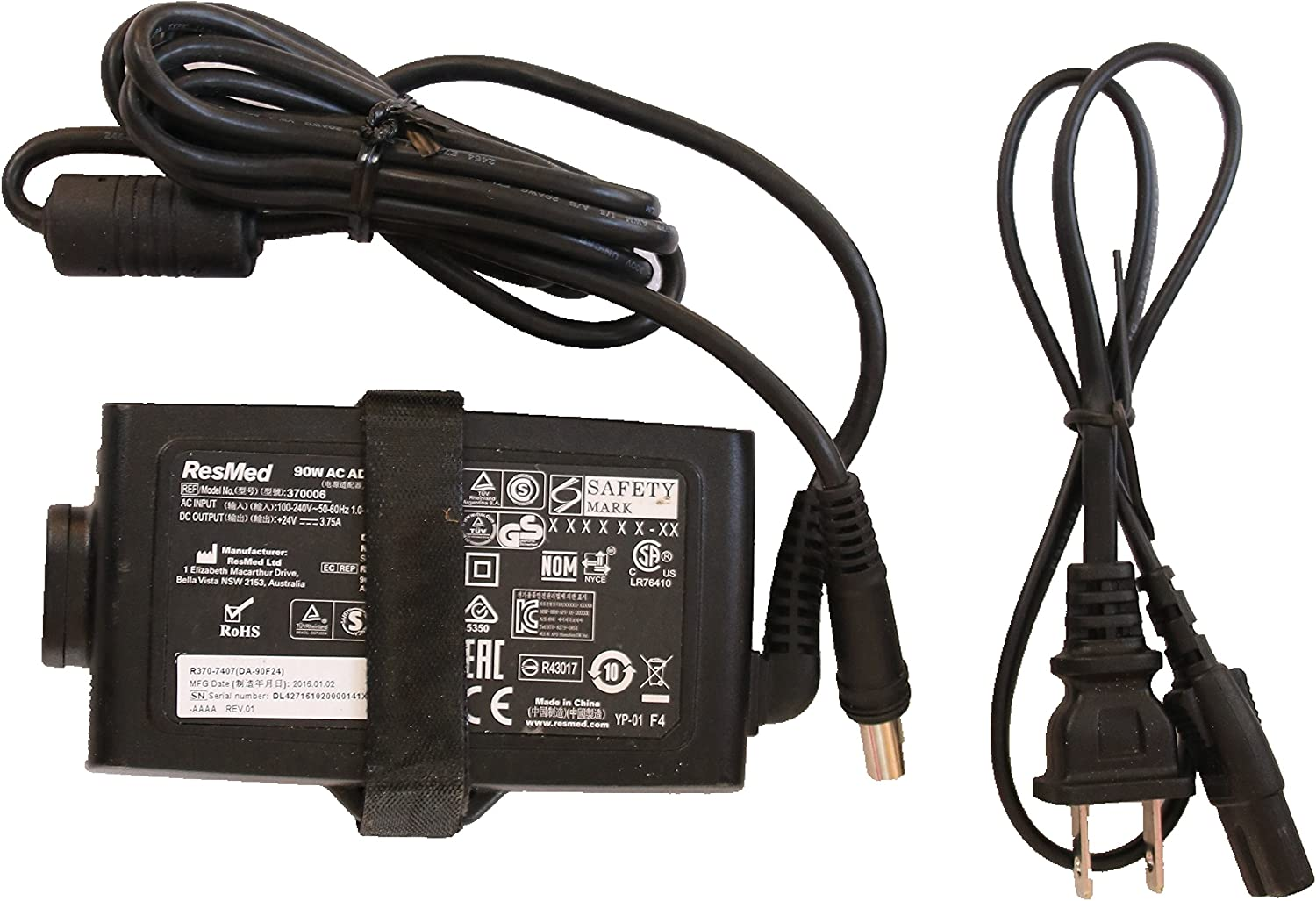 AC Adapter for Resmed S10 Series ResMed Airsense 10 Air Sense S10 AirCurve 10 Series CPAP and BiPAP Machines,90W Resmed S10 370001 Replacement Power Supply Cord Cable Charger