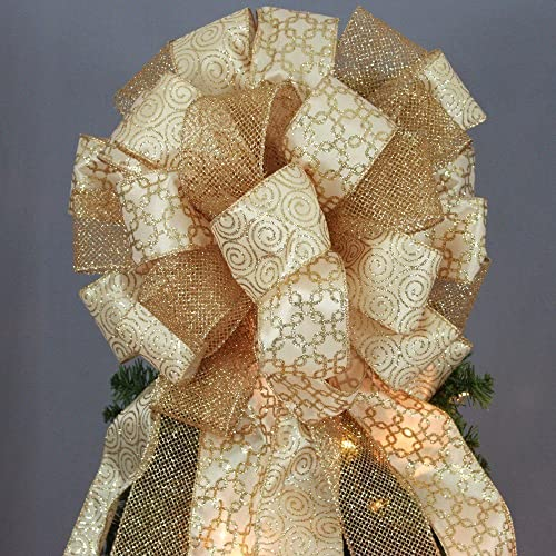 Antique Gold Sparkle Mesh Swirl Christmas Tree Topper Bow 13
