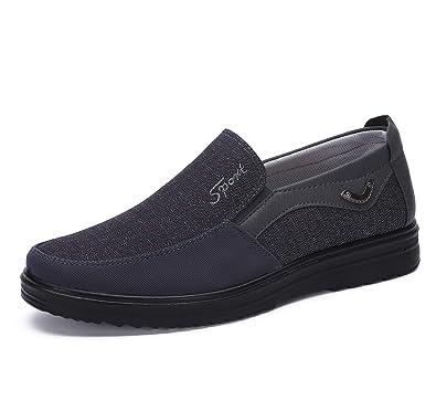 ce638602e0d0 Hommes Mocassins Bateau Cuir Conduite Chaussures Ville Casual Penny Loafers  Chaussons Pantoufles(Gris,38