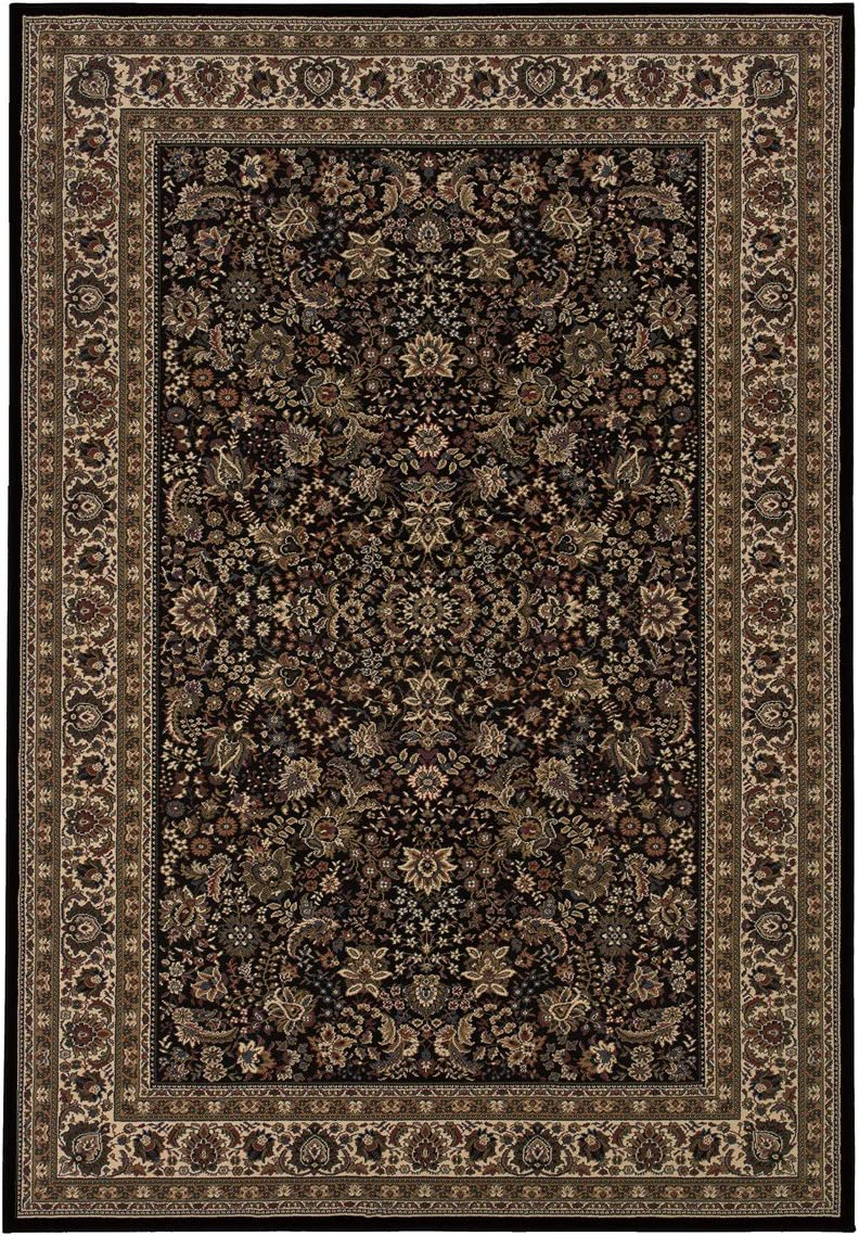 Ariana 213K8 Oriental Area Rug Black Ivory 129.92 Lx94.49 W Rectangle Traditional