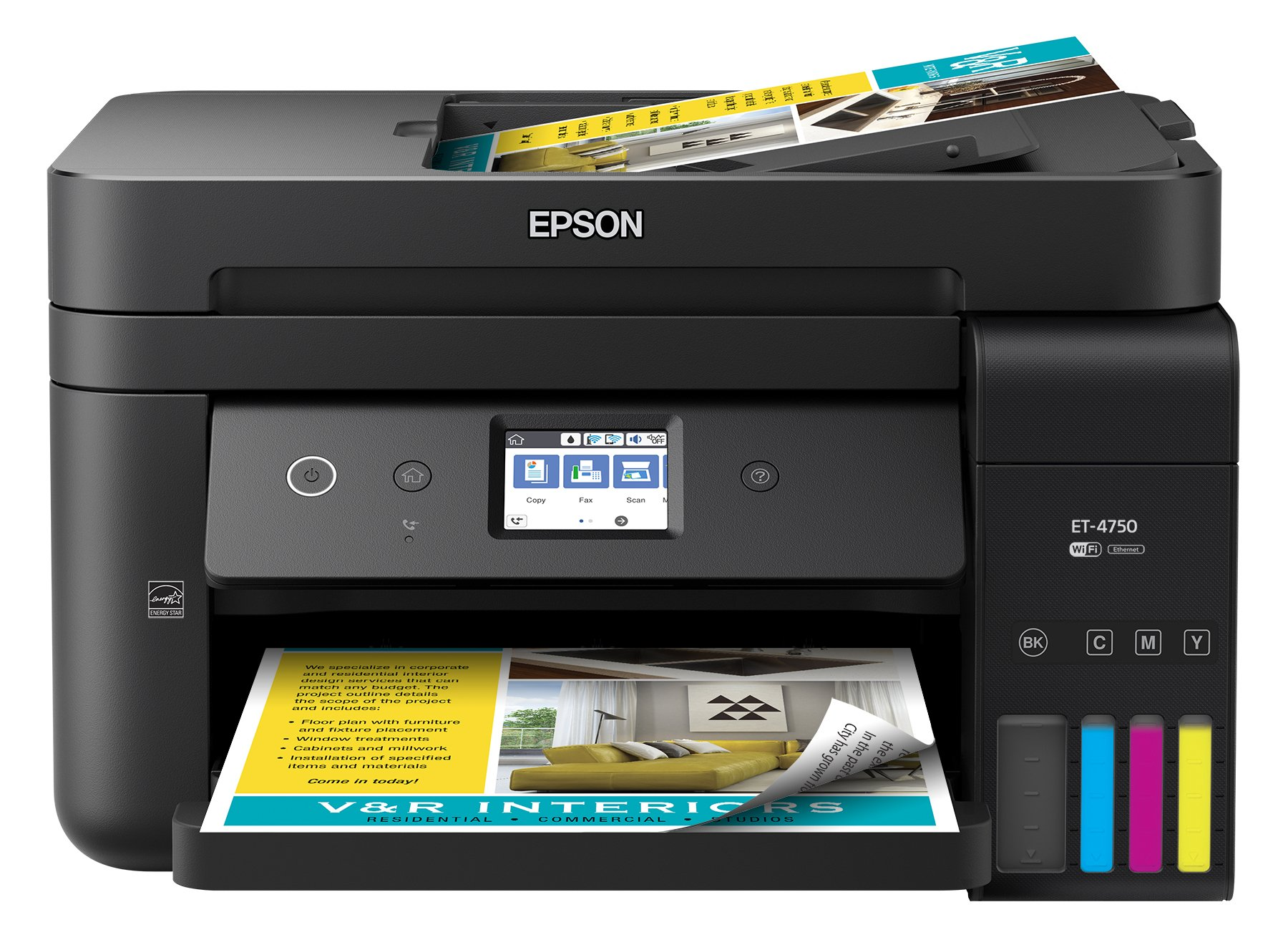 Epson WorkForce ET-4750 EcoTank Wireless Color All-in-One Supertank Printer with Scanner, Copier, Fax and Ethernet by Epson